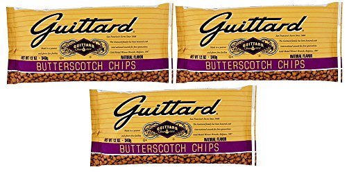 Guittard Butterscotch Chips, 12 Ounce/ 340 g (Pack of 3) [Packaging May Vary]