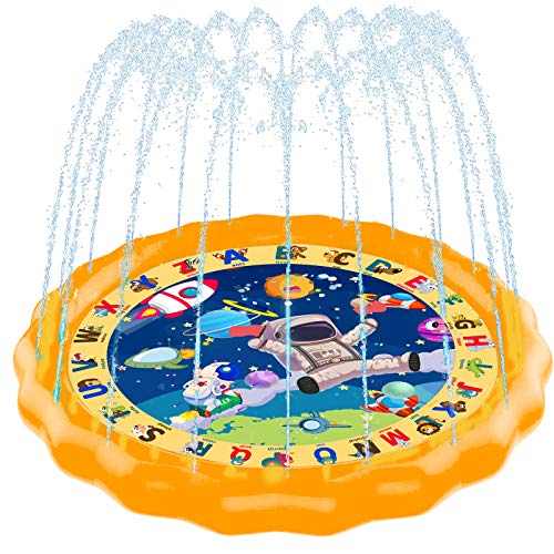 """Scientoy Splash Pad, 68"""" Sprinkler for Kids & Toddlers, Sprinkler Play Mat Outdoor Water Toys for Family & Friend, Space Wading Pool..."""