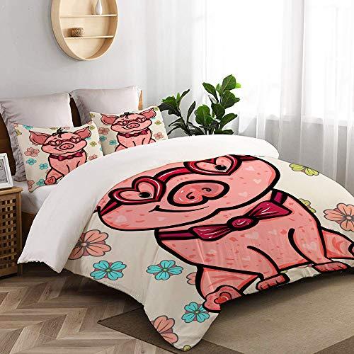 VORMOR Duvet Cover Super King Size,Pink Pig Heartshaped Glasses Symbol 2019,Luxurious Soft 3 Pics Bedding Set Includes 1 Duvet Cover (260x220cm) And 2 Pillowcases (50x80cm)