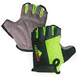 LuxoBike Cycling Gloves (Green - Half Finger, Large)