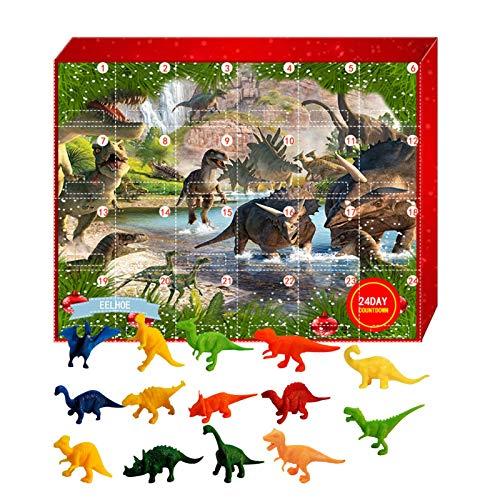 QUUY Calendario de Adviento de dinosaurios Animal Squeeze Toys para niños, 24 unidades, sorpresa calendario de Navidad, regalo de cuenta atrás, calendario de juguete para Nochebuena