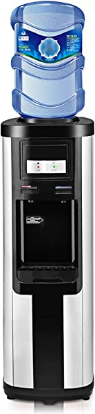 Costway Water Cooler Dispenser 5 Gallon Top Loading Water Dispenser Stainless Steel Freestanding Water Cooler W Hot And Cold Water Black And Silver