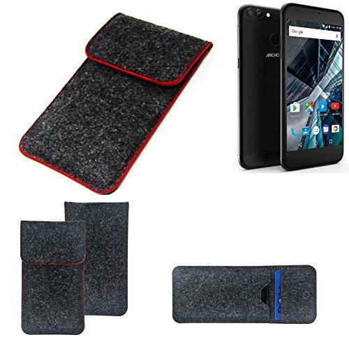 K-S-Trade® Handy Schutz Hülle Für Archos 55 Graphite Schutzhülle Handyhülle Filztasche Pouch Tasche Case Sleeve Filzhülle Dunkelgrau Roter Rand