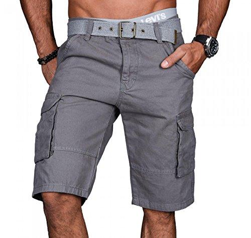 Alessandro Salvarini A.Salvarini Stylische Herren Cargo Short inkl. Gürtel Sommer Bermuda Kurze Hose Army Shorts AS-037 [AS037 - Grau - W29]