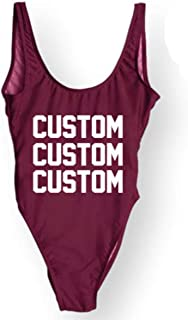 Personalized Bathing Suits Custom Text One-Piece Suit Letter Print Swimsuit Wedding Gift Monokini