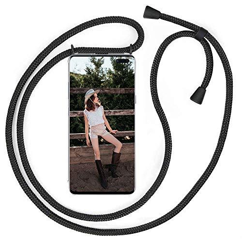 QCHMM Funda con Cuerda Compatible con OnePlus Nord - Transparente TPU Carcasa Suave Silicona Case Cuerda con Colgante Ajustable Collar Correa de Cuello Cadena Cordón Protector Cover - Negro Mate