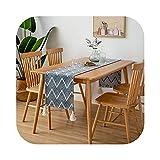 Tischläufer aus Baumwolle, Tischläufer, Tassel, einfacher Stil, Dekoration für Kabinett, Restaurant, 34 x 180 cm, D-34 x 180 cm