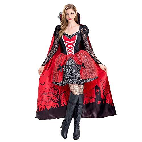 IBTOM CASTLE - Vestido de mujer para Halloween, cosplay, vampiro, vestido bizantino, de manga larga, cuello en V, estampado de puff rojo M