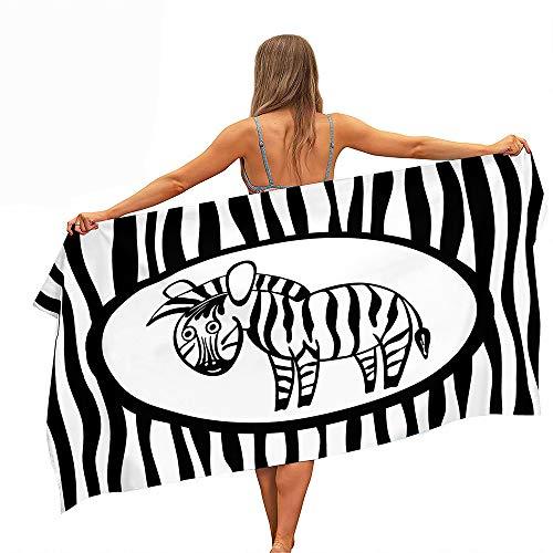 Surwin Toalla de Playa Grande, Microfibra Cebra Impresión Secado Rápido Toalla de Piscina Toalla de Arena Antiadherente para Verano Playa, Yoga, Picnic, Hotel (Cebra Negra,80x160cm)