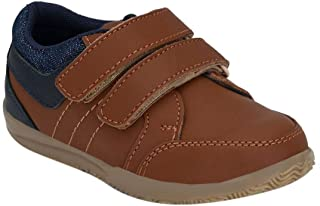 Hopscotch Tuskey Shoes Boys Leather Genuine Leather Sneaker in Tan Color