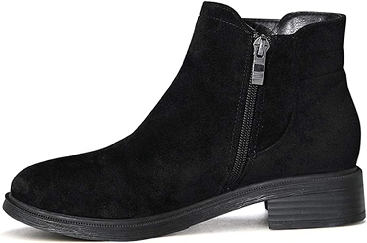 GIY Women's Side Zipper Winter Ankle Boots Round Toe Suede Leather Warm Fur Lined Flat Low Heel Casual Western Chelsea Boots