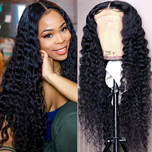 UNice Hair 5x5 HD Lace Closure Wig Human Hair for Black Women, 10A Brazilian Virgin Hair Jerry Curly Transparent Lace Closure Wigs Pre Plucked with Baby Hair 180% Density 16 inch