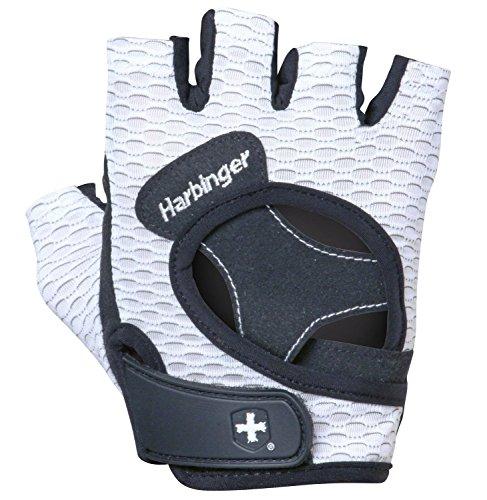 Harbinger FlexFit, Fitness Handschuh Damen, Gewichtheber Handschuhe, Waschmaschinengeeignet, Weiß, M