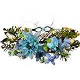 YAZILIND boda nupcial Chrysanthemum Margarita flor hojas guirnalda de Dama de honor tocado corona playa guirnalda floral (azul)