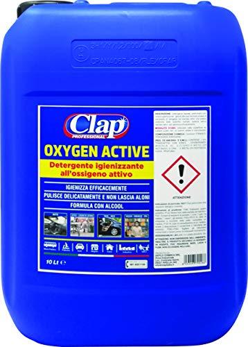 CLAP OXYGEN ACTIVE Detergente Igienizzante all'ossigeno attivo ed Etanolo Concetrato Professionale, Contiene Perossido di Idrogeno in concentrazione < 1% - Prodotto in Italia… (10 litri)