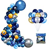 AULE Blue Balloon Garland Kit ,91pcs Navy Royal Blue Latex Balloons and Gold silver Blue Metallic Balloon Arch for Boy Baby Shower Birthday Wedding Graduation Party DIY Decoration