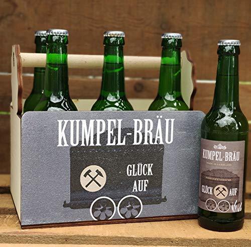 Lusitge Bierträger für Bierflaschen | Flaschenträger für Bergleute | 6er Träger aus Holz Kumpelbräu | die Bierkiste für Opa oder Papa | Glück Auf Kumpel Bräu