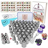 116 Russian Piping Tips Set Cake Decorations Kit Include 56 Icing Nozzles Piping,4 Sphere Ball...