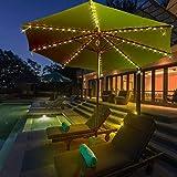 Mobestech Solar Powered Patio Umbrella String Light Bright Outdoor Patio Umbrella Light Strip