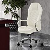 Modern Ergonomic Sterling Leather Executive Chair with Aluminum Base- Cream