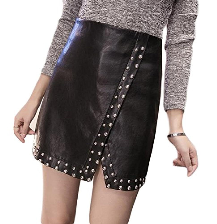 BSCOOLショート PU スカート レディース ハイウエスト レザー スカート リベット付き おしゃれ ミニスカート かわいい 黒スカート