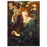 Legendarte - Cuadro Lienzo, Impresión Digital - La Ghirlandata - Dante Gabriel Rossetti - Decoración Pared cm. 60x85