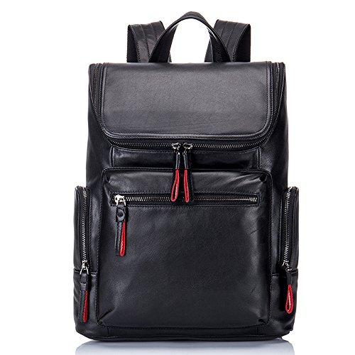 Boshiho Real Leather Laptop Backpack Fashion Travel Bag Daypack for Men (Flat Pattern)