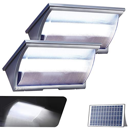 Outdoor Lights Solar Powered LED Flood Lights Dusk to Dawn Lighting with Motion Sensor for Backyard Garden 1200LM JSIEEM 2Pack Grey