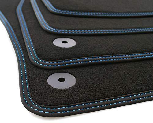 kh Teile A3 8VS Tapis de Sol en Velours de qualité supérieure 4 pièces avec Couture Double en Nubuck Bleu