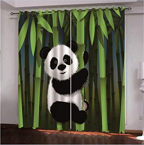 ZYZYY Gardine Panda Bambus Vorhänge 2 Stück Verdunkelungsvorhänge Blackout 3D Curtain Schlafzimmer Wohnzimmer-264X183cm