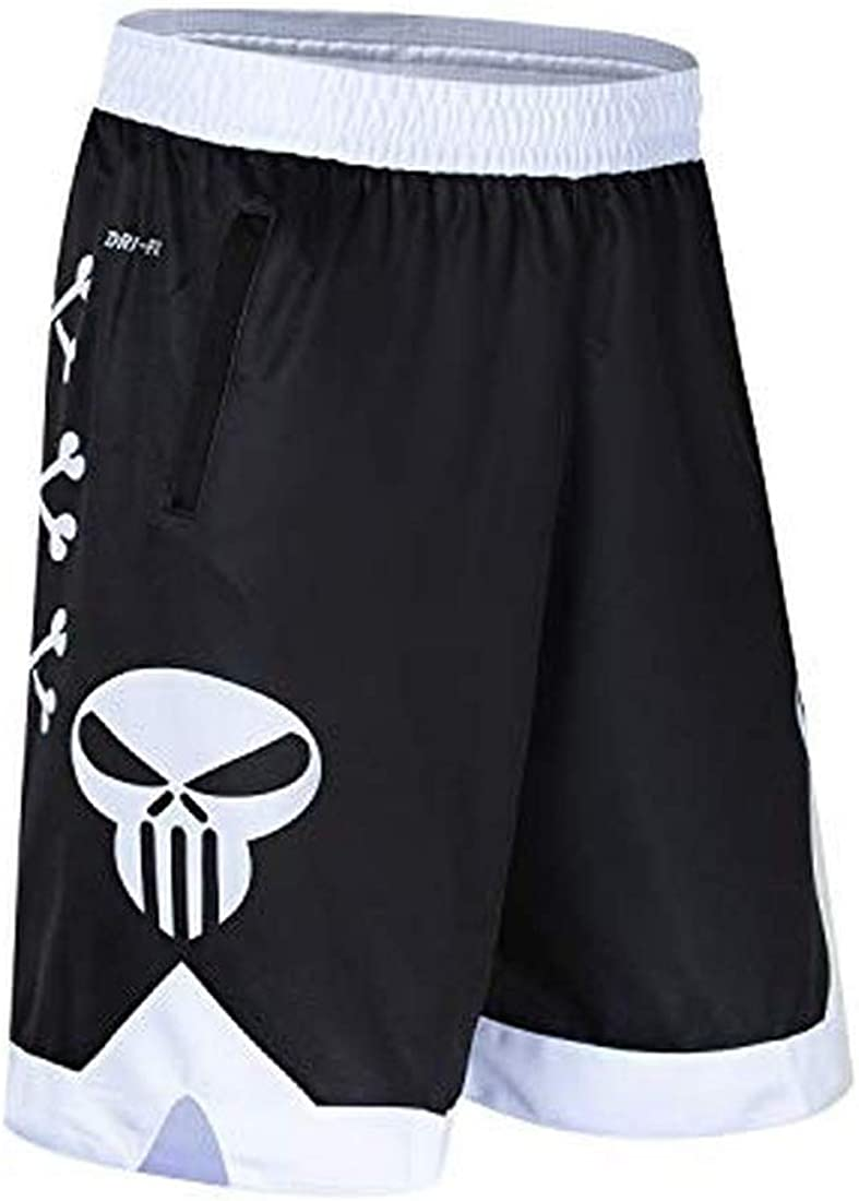 MENGMIAN Men's Bone Collector Basketball Shorts with Pockets Spo