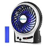 VersionTechポータブル充電式ファン、デスクテーブルカーオフィスの寝室用冷却電動USBファン(3スピード、LEDライト付き - ブラック)