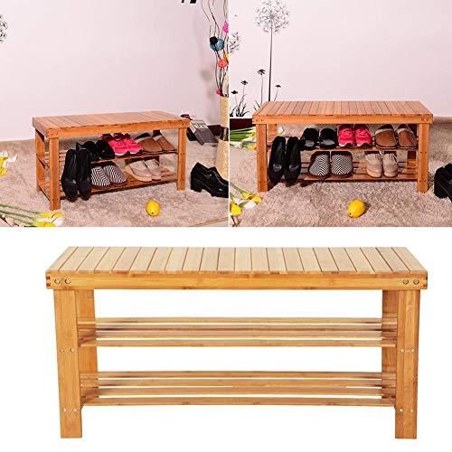 Innerset - Banqueta de bambú con 3 Niveles con patrón de Tiras de 90 cm