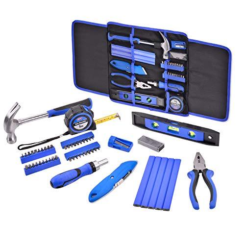 HELAKLS 58 Piece Carpenter Home Maintain Repair Hand Tool Kits Set Ratchet Screwdriver Combination Pliers Utility Knife Level Ruler Hammer For Woodwork