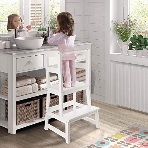 WishaLife Kids Kitchen Step Stool, Toddler Step Stool, Toddler Stool with Safety Anti-Slip Protection - Solid Hardwood Construction - Perfect for Toddlers 18 Months and Older (White Color)
