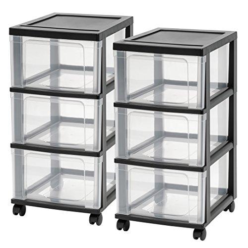 IRIS USA NC-3 Wide Storage Drawer Cart 2 Pack Black 2 Count