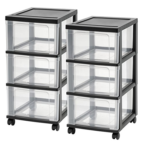 IRIS NC-3 3-Drawer Narrow Cart, Black, 2-pack