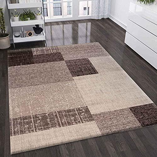 VIMODA Wohnzimmer Teppich Kurzflor in Beige Braun Designer Teppiche Modern Kachel-Optik Kariert Pflegeleicht, Maße:200x290 cm
