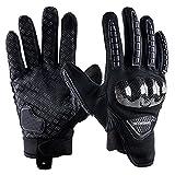 Guantes de Moto Verano, Transpirables para Motocicleta con Dedos Completos Acolchados para Pantalla Táctil Negro L
