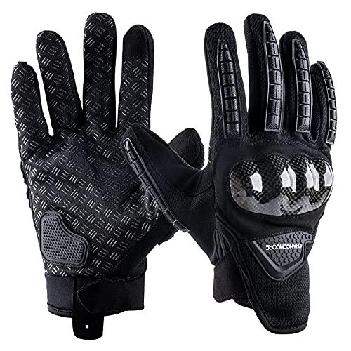 Guantes de Moto Verano, Transpirables para Motocicleta con Dedos Completos Acolchados para Pantalla Táctil Negro XL