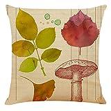 YINGZG Funda de Cojine 55x55cm 22x22 Inch Navia Maple Leaf Cuadrado Cushion Cover Decoración Algodón Lino Lanzar Funda de Almohada Caso de la Cubierta Cojines para Sofá Decorativo Z6117