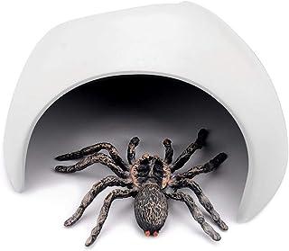 爬虫類 シェルター 隠れ家 テラリウム隠す洞窟 爬虫類の隠れ家 爬虫類洞窟 生息地の装飾 プラスチック素材 安全性(ホワイト)