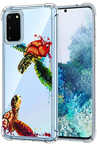 Suhctup Compatible con Samsung Galaxy S20 Plus Funda para Silicona con Dibujos Animados Diseño Cárcasa Ultra-Fina Transparente Suave TPU Choque Cojín de Esquina Parachoque Caso-Tortuga 3