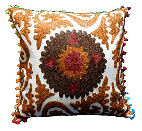 iinfinize - Funda de cojín de 100% algodón uzbeko Suzani bordada, funda de almohada cuadrada de 40,64 cm, con pompón, estilo hippie, bohemio, decorativa, almohada de suelo, almohada de silla