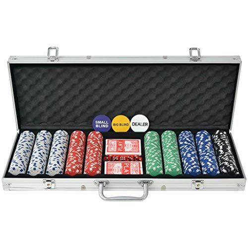 vidaXL Juego de Póker con Maletín con 500 Fichas Aluminio Set de Jugar Póquer