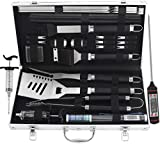 grilljoy BBQ Grill Tool Set with gift wrapping box, 25pcs Stainless Steel BBQ Accessories with heat resistant...