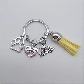 TangMengYun Llaveros Colgante Llavero Regalo del Amante Amo mi Perro Mejor Amigo Lindo el corazón del Perro de la Pata Lla...