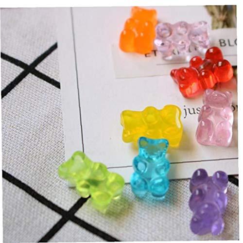 Figurines Miniaturas Decoración Flatback Alimento DIY Resina Azúcar Dollhouse Linda Diseño del Oso 20pcs Jalea De Frutas Papelería Caja Color Azar