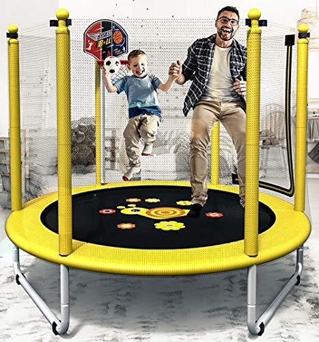 SXTYRL Trampolin für Kinder mit Griff, Trampolin, Fitness-Pullover, für drinnen und draußen, für Erwachsene und Kinder, Sicherheitsnetz, gepolsterte Netzpfosten und Kantenschutz, Gelb