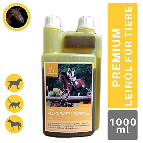EMMA® Omega 3 Leinöl für Pferde I 100% rein I Leinoel Hunde I Leinsamen Öl glänzendes Fell aus Leinsamen geschrotet I Fellwechsel I Omega 6 9 Leinen-Öl kaltgepresst fürs Pferd I Barf Öl für Tiere 1 L